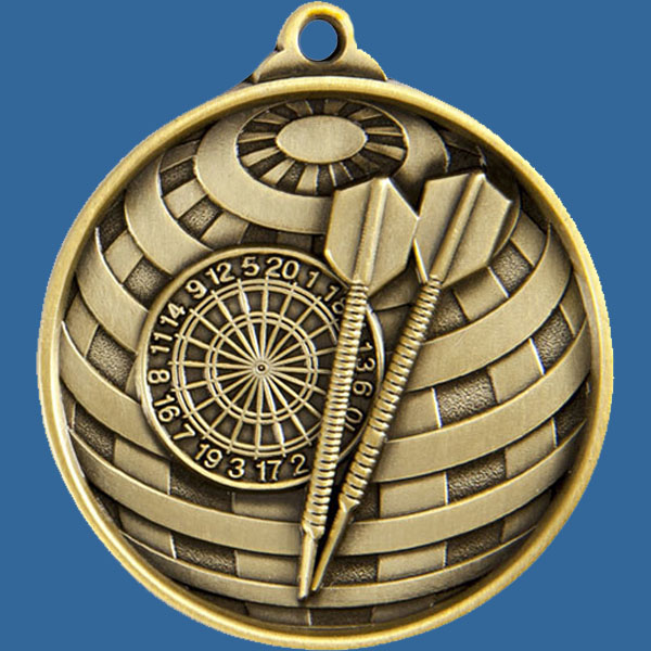 Darts Global Series Medal - 5mm Thick Antique Gold 50mm Medal Neck Ribbon included