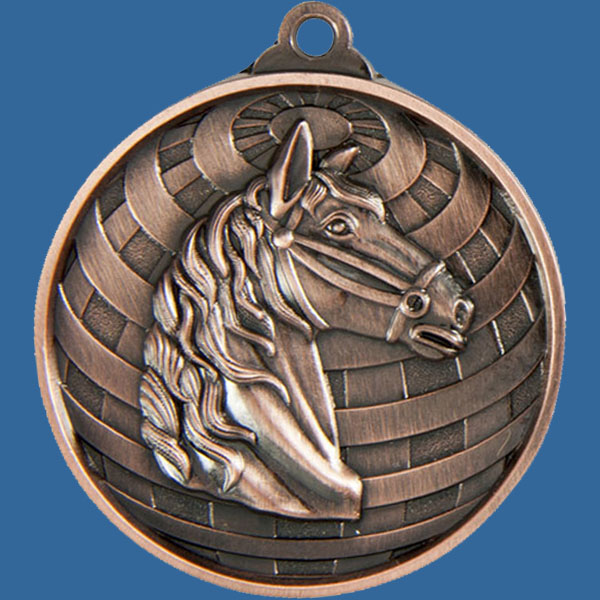 Horse Global Series Medal - 5mm Thick Antique Bronze 50mm Medal Neck Ribbon included