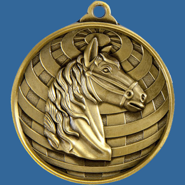 Horse Global Series Medal - 5mm Thick Antique Gold 50mm Medal Neck Ribbon included