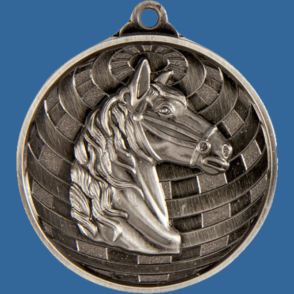 Horse Global Series Medal - 5mm Thick Antique Silver 50mm Medal Neck Ribbon included