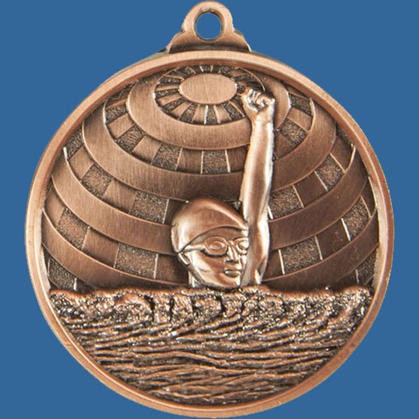 Swim Global Series Medal - 5mm Thick Antique Bronze 50mm Medal Neck Ribbon included