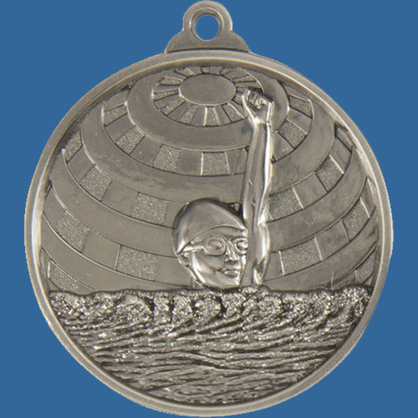 Swim Global Series Medal - 5mm Thick Antique Silver 50mm Medal Neck Ribbon included