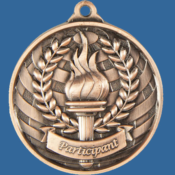 Participant Global Series Medal - 5mm Thick Antique Bronze 50mm Medal Neck Ribbon included