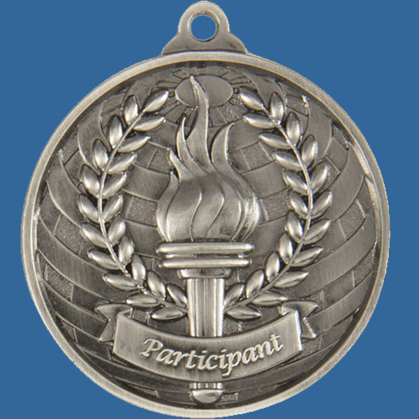 Participant Global Series Medal - 5mm Thick Antique Silver 50mm Medal Neck Ribbon included