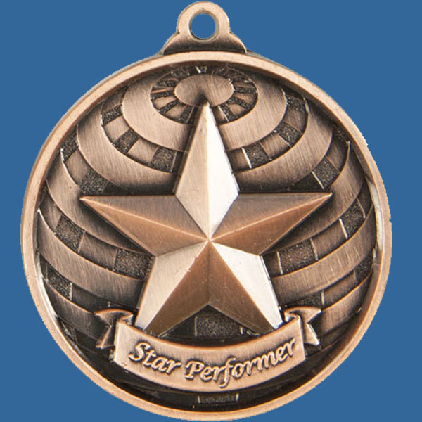 Star Performer Global Series Medal - 5mm Thick Antique Bronze 50mm Medal Neck Ribbon included