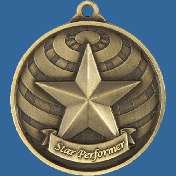 Star Performer Global Series Medal - 5mm Thick Antique Gold 50mm Medal Neck Ribbon included