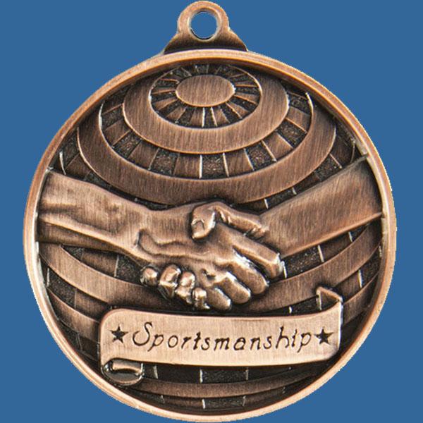 Sportsmanship Global Series Medal - 5mm Thick Antique Bronze 50mm Medal Neck Ribbon included