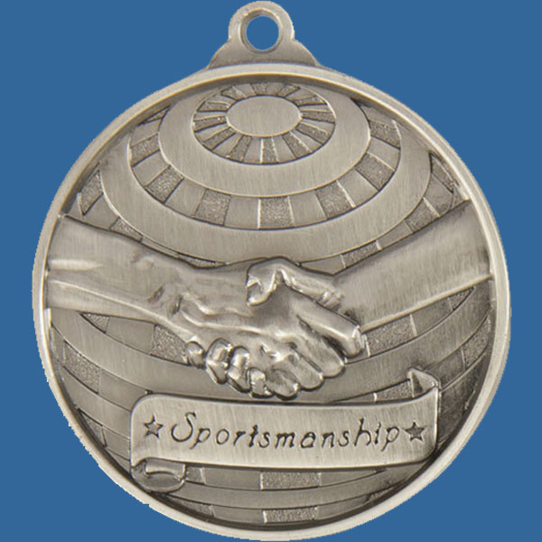 Sportsmanship Global Series Medal - 5mm Thick Antique Silver 50mm Medal Neck Ribbon included