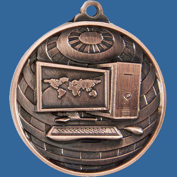 Computers Global Series Medal - 5mm Thick Antique Bronze 50mm Medal Neck Ribbon included