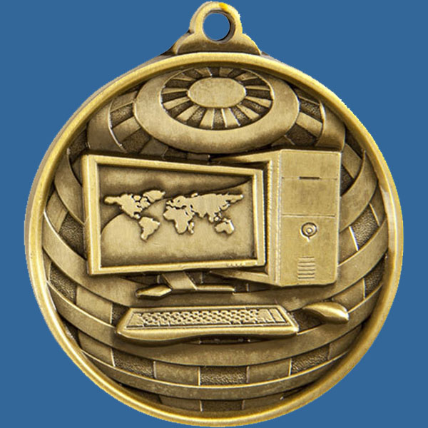 Computers Global Series Medal - 5mm Thick Antique Gold 50mm Medal Neck Ribbon included