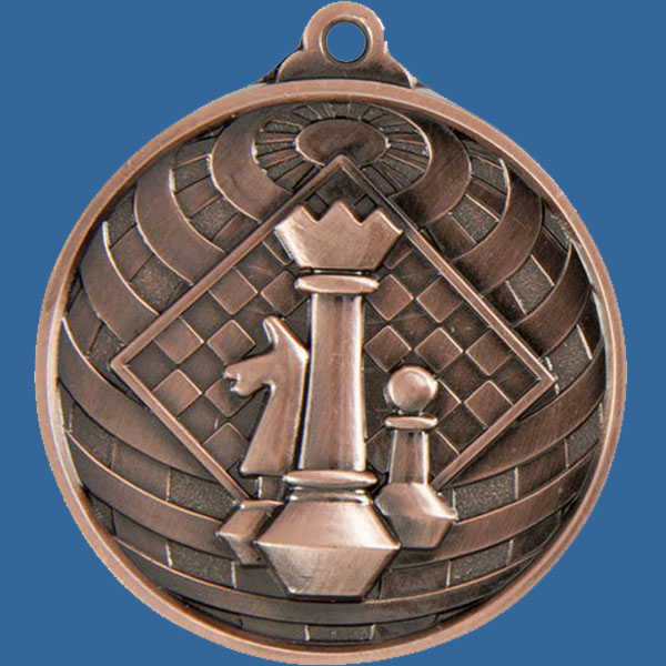 Chess Global Series Medal - 5mm Thick Antique Bronze 50mm Medal Neck Ribbon included