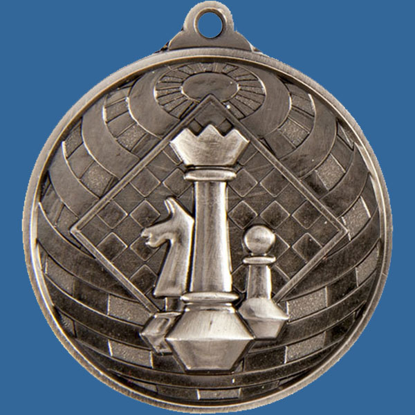 Chess Global Series Medal - 5mm Thick Antique Silver 50mm Medal Neck Ribbon included