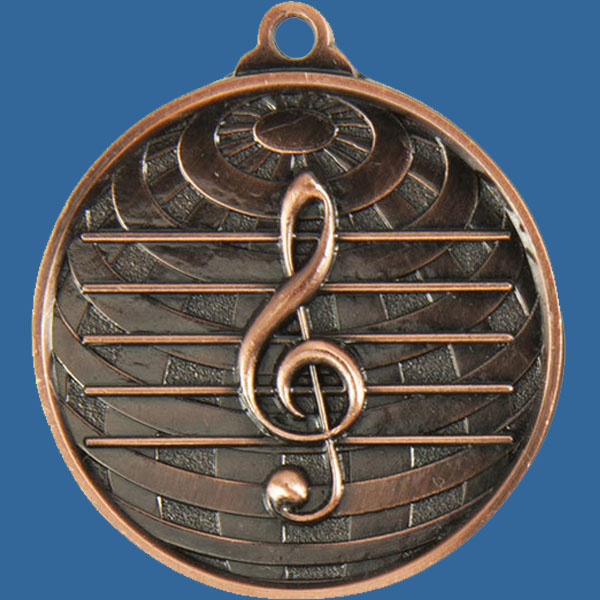 Music Global Series Medal - 5mm Thick Antique Bronze 50mm Medal Neck Ribbon included