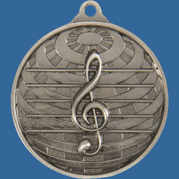 Music Global Series Medal - 5mm Thick Antique Silver 50mm Medal Neck Ribbon included