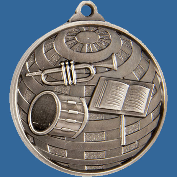 Band Global Series Medal - 5mm Thick Antique Silver 50mm Medal Neck Ribbon included
