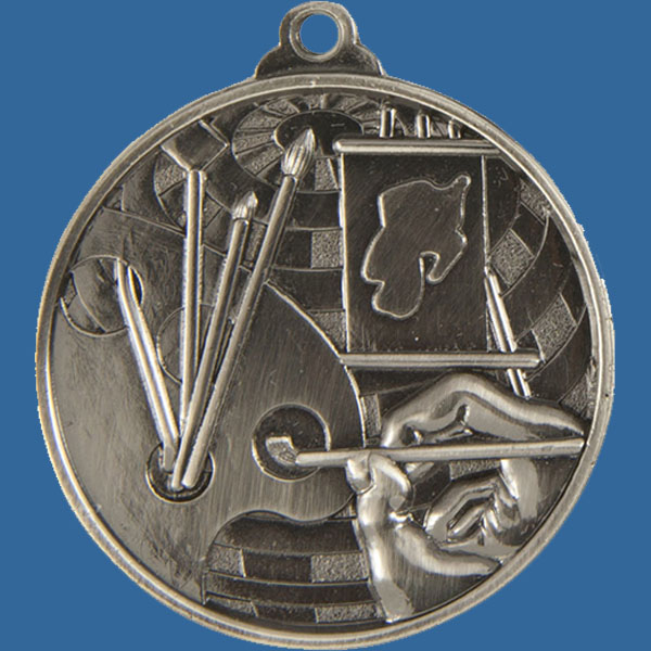 Art Global Series Medal - 5mm Thick Antique Silver 50mm Medal Neck Ribbon included