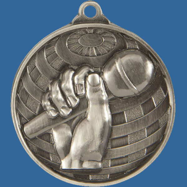 Debate/Public Speaking Global Series Medal - 5mm Thick Antique Silver 50mm Medal Neck Ribbon included