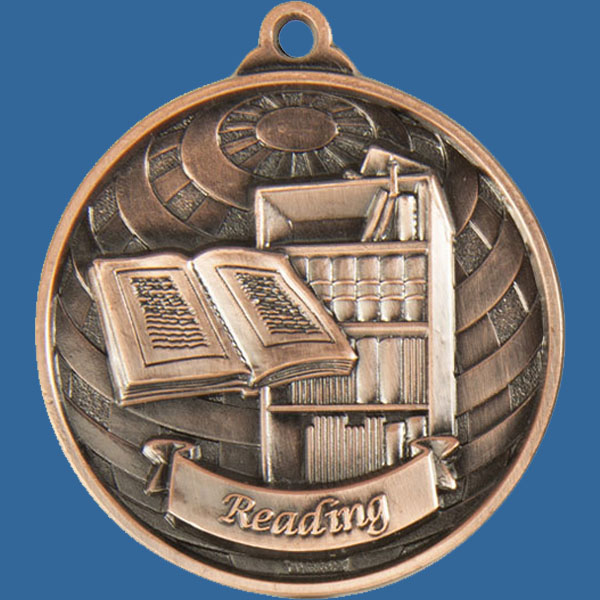Reading Global Series Medal - 5mm Thick Antique Bronze 50mm Medal Neck Ribbon included