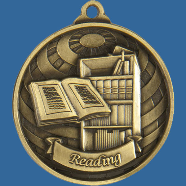 Reading Global Series Medal - 5mm Thick Antique Gold 50mm Medal Neck Ribbon included