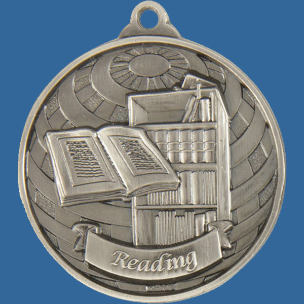 Reading Global Series Medal - 5mm Thick Antique Silver 50mm Medal Neck Ribbon included