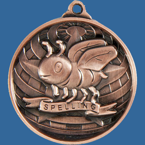 Spelling Global Series Medal - 5mm Thick Antique Bronze 50mm Medal Neck Ribbon included