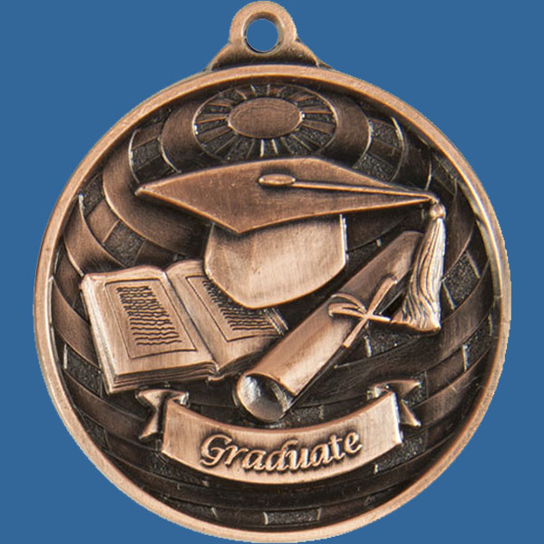 Graduate Global Series Medal - 5mm Thick Antique Bronze 50mm Medal Neck Ribbon included