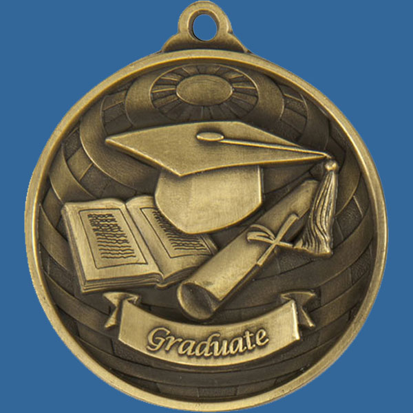 Graduate Global Series Medal - 5mm Thick Antique Gold 50mm Medal Neck Ribbon included