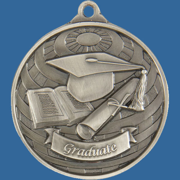 Graduate Global Series Medal - 5mm Thick Antique Silver 50mm Medal Neck Ribbon included