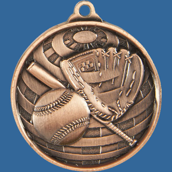 Baseball/Softball Global Series Medal - 5mm Thick Antique Bronze 50mm Medal Neck Ribbon included