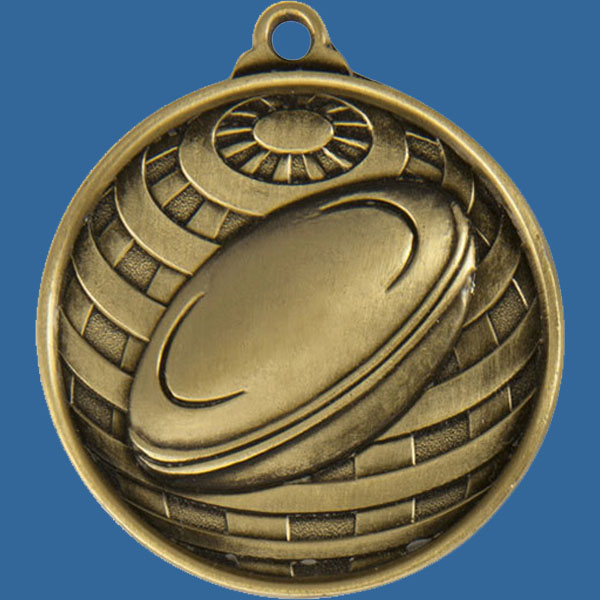 Rugby Global Series Medal - 5mm Thick Antique Gold 50mm Medal Neck Ribbon included