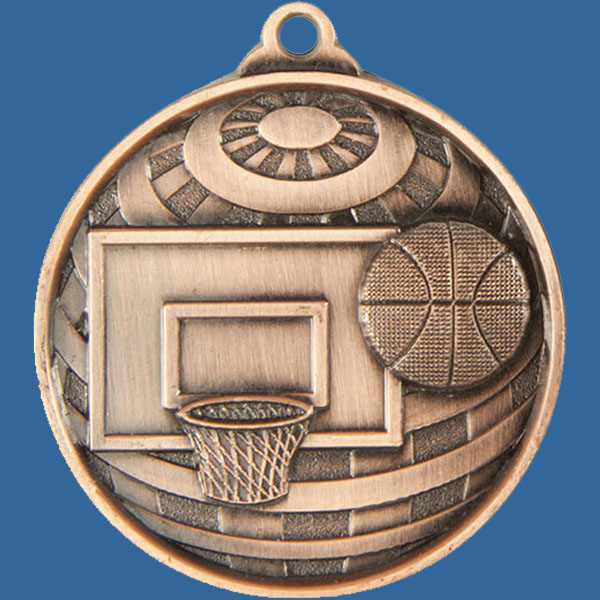 Basketball Global Series Medal - 5mm Thick Antique Bronze 50mm Medal Neck Ribbon included