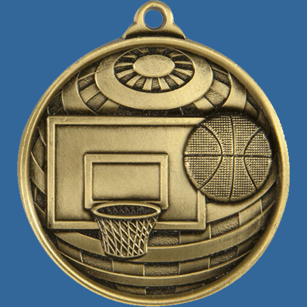 Basketball Global Series Medal - 5mm Thick Antique Gold 50mm Medal Neck Ribbon included