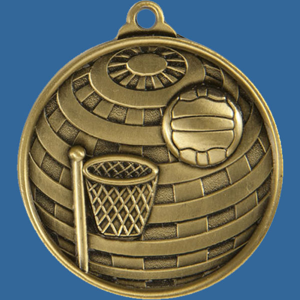 Netball Global Series Medal - 5mm Thick Antique Gold 50mm Medal Neck Ribbon included