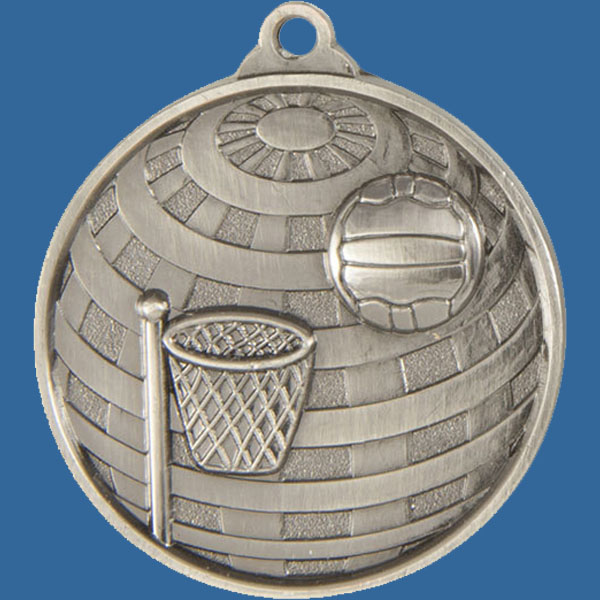 Netball Global Series Medal - 5mm Thick Antique Silver 50mm Medal Neck Ribbon included