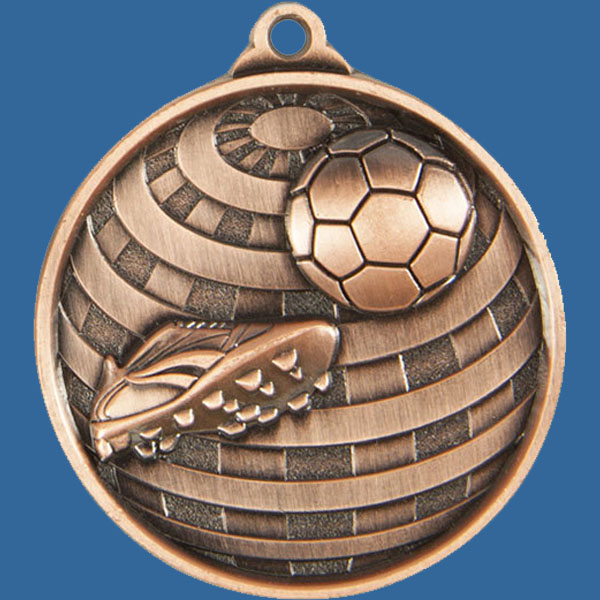 Football Global Series Medal - 5mm Thick Antique Bronze 50mm Medal Neck Ribbon included
