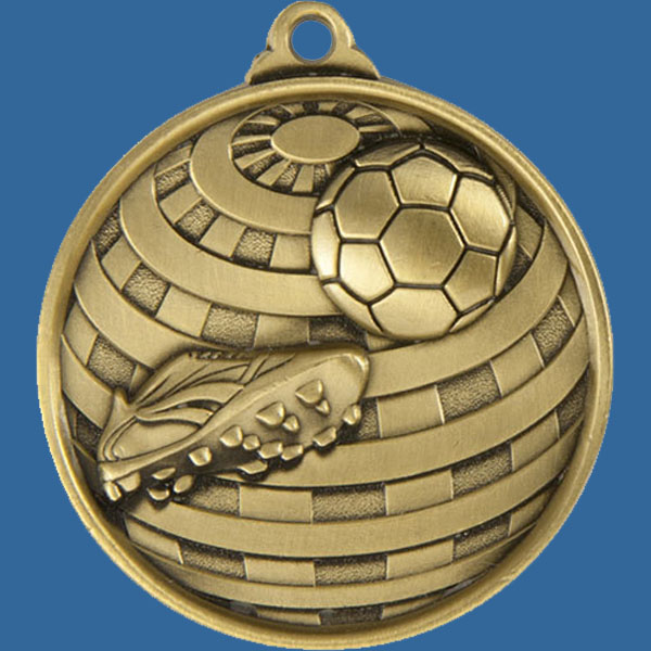 Football Global Series Medal - 5mm Thick Antique Gold 50mm Medal Neck Ribbon included
