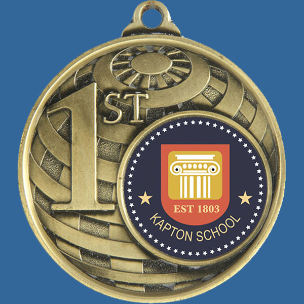 1st Place Global Series Medal - 5mm Thick Antique Gold 50mm Medal Neck Ribbon included