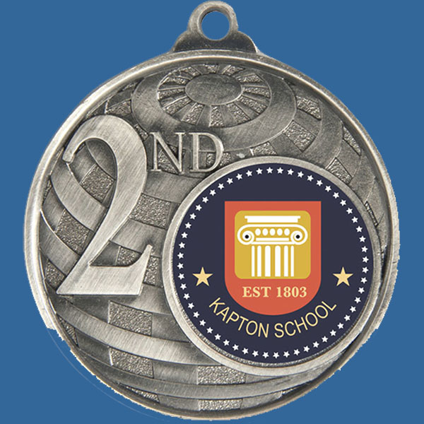 2nd Place Global Series Medal - 5mm Thick Antique Silver 50mm Medal Neck Ribbon included