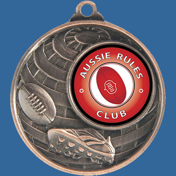 Aussie Rules Global Series Medal - 5mm Thick Antique Bronze 50mm Medal Neck Ribbon included