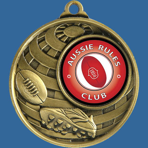 Aussie Rules Global Series Medal - 5mm Thick Antique Gold 50mm Medal Neck Ribbon included