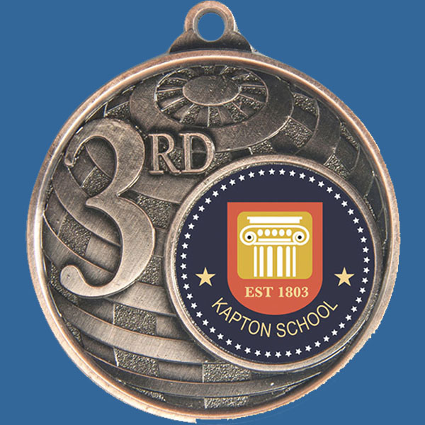 3rd Place Global Series Medal - 5mm Thick Antique Bronze 50mm Medal Neck Ribbon included
