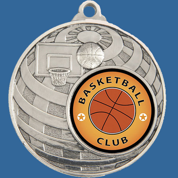Basketball Global Series Medal - 5mm Thick Antique Silver 50mm Medal Neck Ribbon included