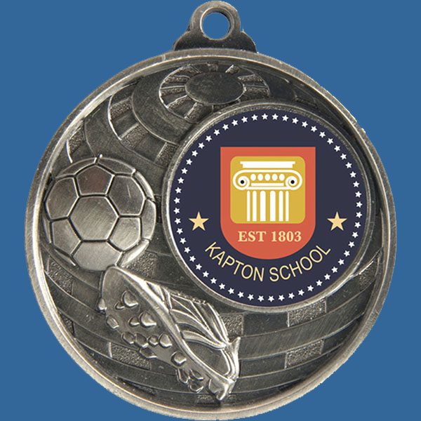 Football Global Series Medal - 5mm Thick Antique Silver 50mm Medal Neck Ribbon included