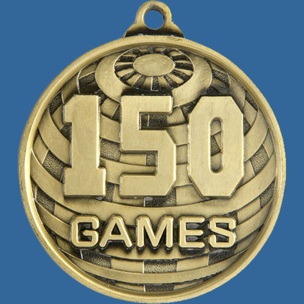 150 Games Global Series Medal - 5mm Thick Antique Gold 50mm Medal Neck Ribbon included