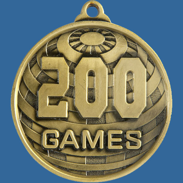 200 Games Global Series Medal - 5mm Thick Antique Gold 50mm Medal Neck Ribbon included