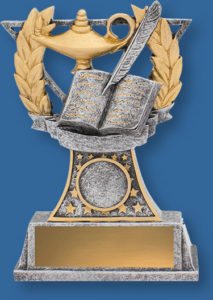 Academic Classic Style. Wreath and stars with book, quill and lamp detail.