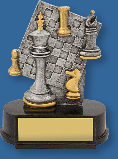 Effective and well designed chess trophy that features key chess elements. Ideal for Chess Clubs and School Awards.