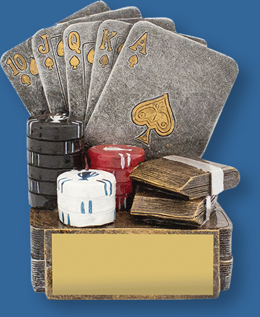 Cards Trophy Generic Resin. Cards trophies with classy antique silver and gold finish. Cards and chips detail.