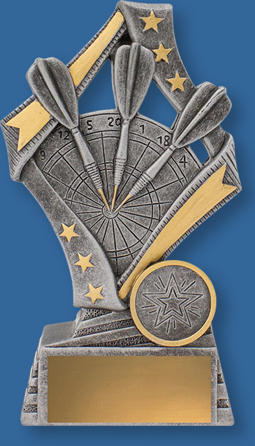 Darts Trophy Generic Resin. Flag Series. Dartsl trophies with dart and board detail in traditional antique silver and gold. Engraving plate.