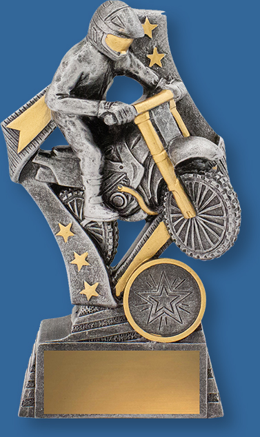 Flag Series. Motorcross rider action. Classic designed antique silver and gold stars.